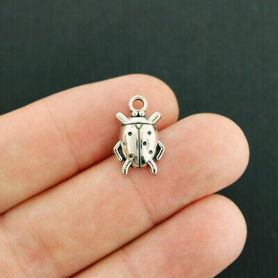 30pcs Ladybug Charms Insect Beetle Bug Charms Antique Silver Tone 11x17mm 2989