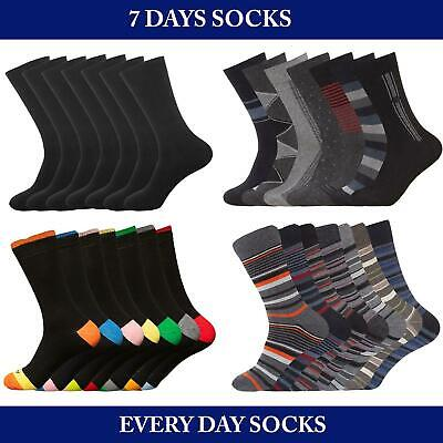 Mens Socks 7 Pairs Days of the Week Cotton Rich Casual Smart Sock Multipack 6-11