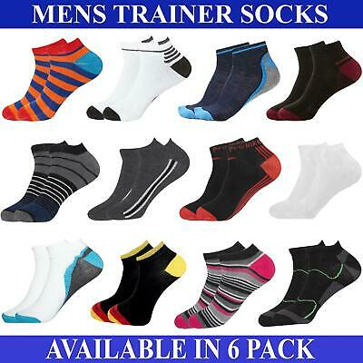 3, 6, 7 Pairs Mens Trainers Socks Invisible Ankle Shoe Liner Gym Multipack 6-11