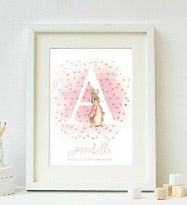 Peter Rabbit New Baby Girl Birth Print Nursery Wall Art Christening Gift Picture