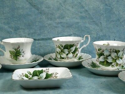 Royal Albert Trillium Bone China Coffee Tea Set Cups Classy gold white green