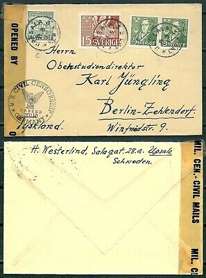 SWEDEN 1940s US CENSORED COVER UPSALA TO BERLIN -CAG 030419