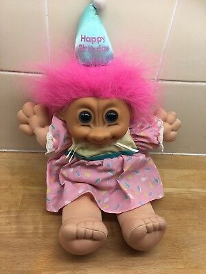 Russ Happy Birthday Troll Soft Bodied Doll Toy 1990's Vintage Retro
