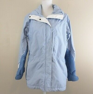 Women's Columbia core interchange coat size small blue white zipper buttons warm
