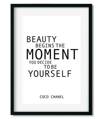 Beauty Being Yourself Coco Chanel Feminist Quote Modern Black & White Art Print