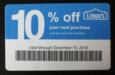(1X) - Lowe's Competitor 10% Off for Home Depot-Valid through December 15, 2019