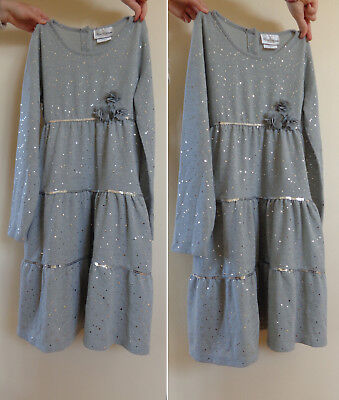 Superbe Robe 11-13 Ans Rare Editions Silver Gray Long Sleeve Dress 11-13 Yrs