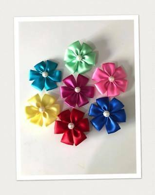 Large Satin Flower hair clips for toddlers / Kids (pink, Yellow, Blue,Red,Green)