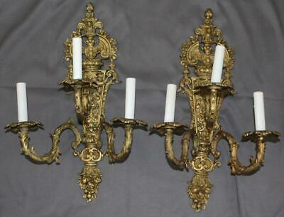 Pair French Gilt Bronze Rococo Revival 3 Light Candle Sconces Electrified
