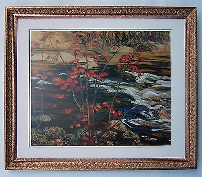 """A.Y. Jackson, Group of Seven  """"The Red Maple"""" Large Print in Gold Frame"""