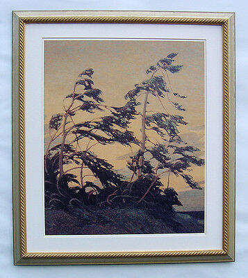 """Group of Seven, Tom Thomson """"PINE ISLAND"""" In Light gold colore Frame"""