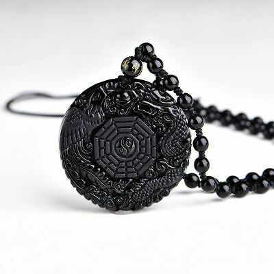 Pendant Necklace Natural Black Obsidian Chinese Dragon Lucky Amulet Accessories