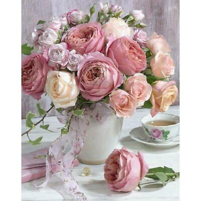 5D DIY Full Drill Diamond Painting Pink Flowers Cross Stitch Embroidery Kit