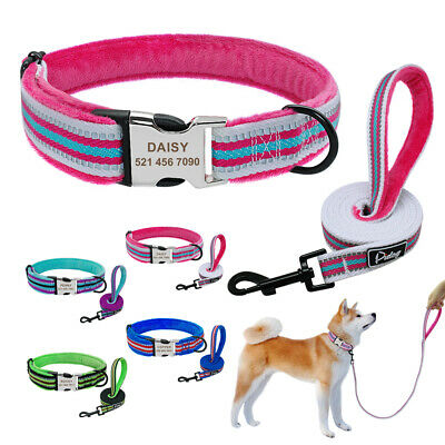 Personalised Dog Collar Lead Plush Lined Reflective Engraved ID Tag Small Large
