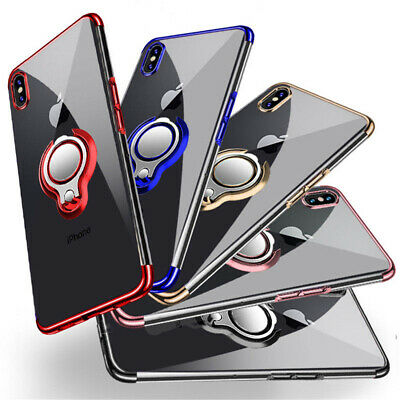 Magnetic Plating Clear Hard Case Cover With Ring Holder For iPhone XS Max 8 Plus