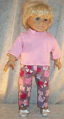 "Doll Clothes Made 2 Fit American Girl 18"" inch Pajamas Sleepwear Foxes Pink 2pc"