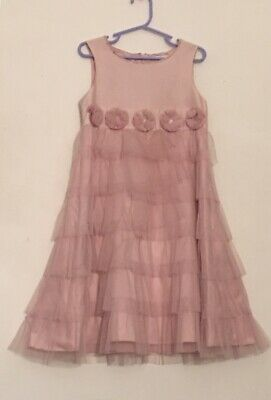 Marks & Spencer 'Autograph' Girls Floral-Trim Dress Size 7 Years in Rose Pink
