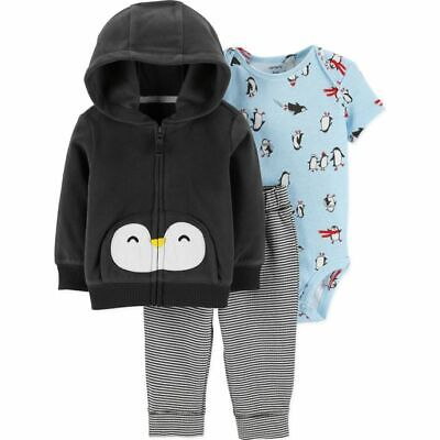 8b096ec7b NWT Carters Baby Boys Penguin Fleece Hoodie Jacket Bodysuit Pants Outfit Set