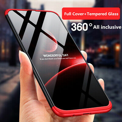 For Samsung Galaxy A50 A30 360° Full Protective Hybrid Case+Tempered Glass Cover