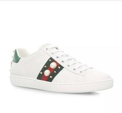 58c1c749dd5 Gucci New Ace Studded Web   Spike with Faux Pearl Leather Sneakers (38EU 8US