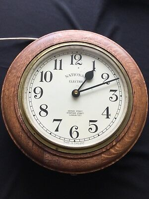 1930s Art Deco Oak Wall Clock Industrial Large Office, Working