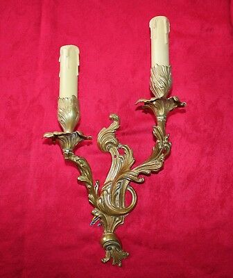 Vintage French Rococo Brass Double Wall Light