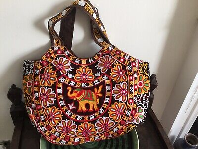 New Large Beautiful Indian Shopping Bag Embroidered with Elephants