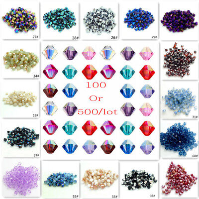 Wholesale100-500pcs Rondelle Faceted Crystal Glass Loose Spacer Beads 4mm/6mm UK
