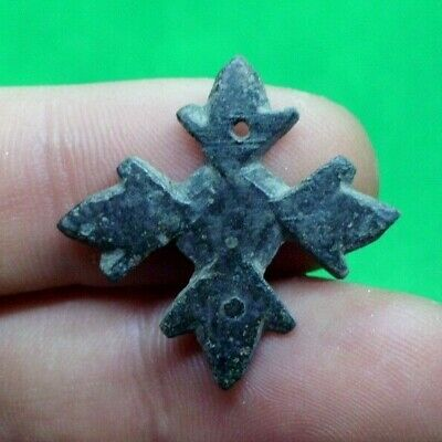 Early Christian Decorated Bronze Cross Amulet - Wearable - 500/600 Ad