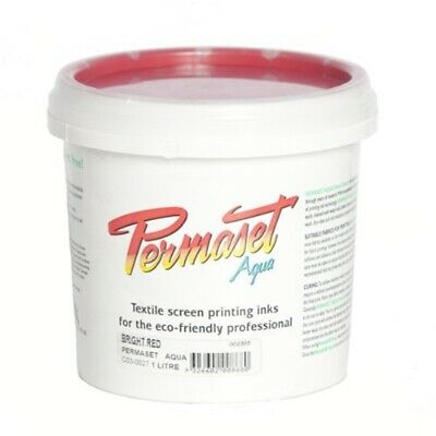 Permaset Aqua 1 Litre Fabric Printing Ink - Bright Red