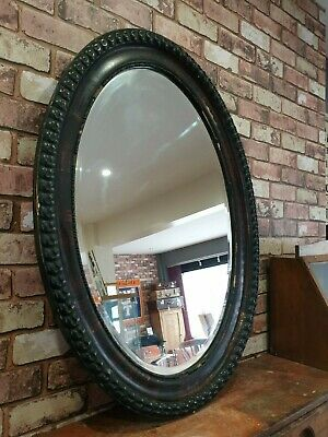 Antique Victorian Decorative Oval Wooden Mirror