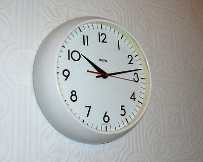 Vintage 1980's White SMITHS School Factory Large Wall Clock. Made in the UK