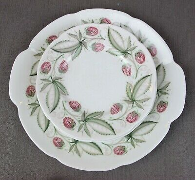 "Superb vintage Susie Cooper ""Wild Strawberry"" C486 DESSERT CAKE PLATE SET. 6 +1"