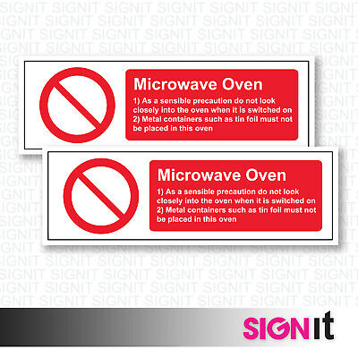 Microwave Oven - Instruction Sign Vinyl Sticker (50mm x 150mm)