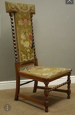 Antique Victorian Oak Prie Dieu Tapestry Needlepoint Kneeling Prayer Chair