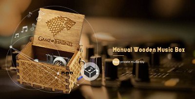 Wooden Music Box Star Wars Harry Game of Thrones Potter Engraved Toys Kids Gifts