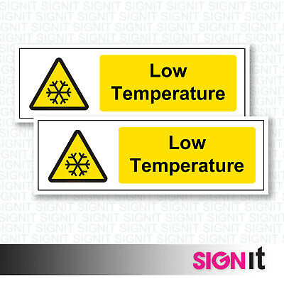 Low Temperature - Warning Sign Vinyl Sticker (50mm x 150mm)