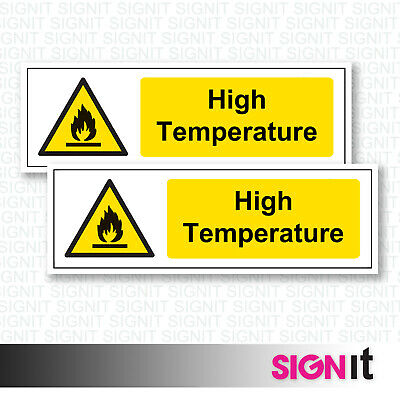 High Temperature - Warning Sign Vinyl Sticker (50mm x 150mm)
