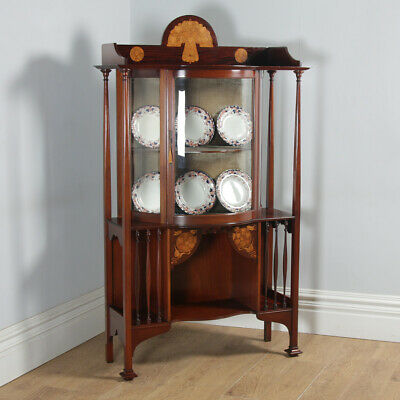 Antique Edwardian Art Nouveau Mahogany & Satinwood Inlaid Glass Display Cabinet