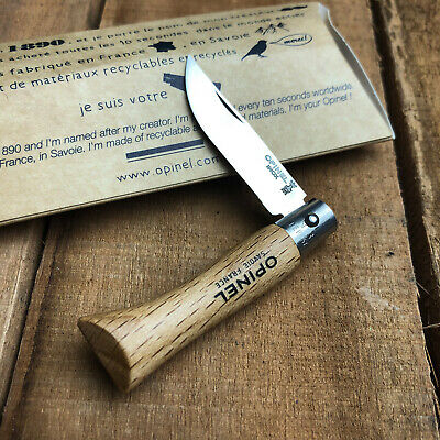Opinel No3 Beechwood Handle 12C27 Stainless Folding Pocket Knife No 3 01071