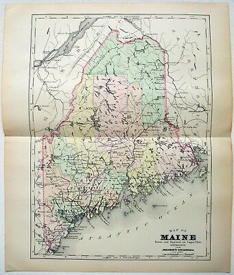 Original 1896 Copper-Plate Map of Maine by A. J. Johnson. Antique