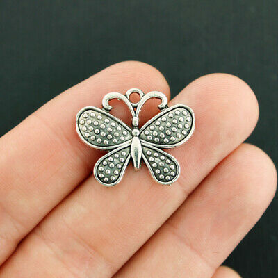 6 Butterfly charms antique silver tone A332