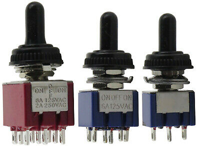 Mini Toggle Switch 2 Position On/On or 3 Position On/Off/On, 3-Pin, 6-Pin, 9-Pin