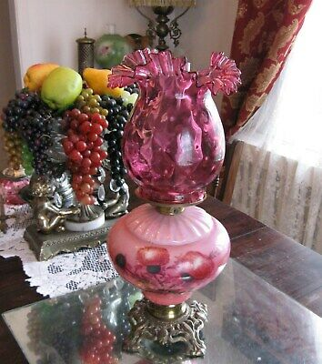Devine  Antique Victorian Queen Ann Cranberry Scotch Thistle Oil Parlor Lamp
