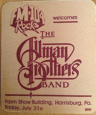 Pase De Tela -Ticket -Entrada Concierto - The Alman Brothers Band - Harrisburg