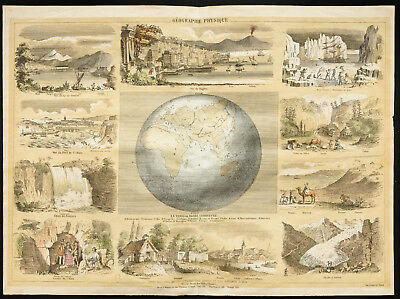 Rare 1853ca - Geography Physical - Plank Encyclopedic, School, Poster