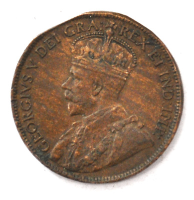 1917 1c Canada Large One Cent Penny KM#21 Bronze Clipped