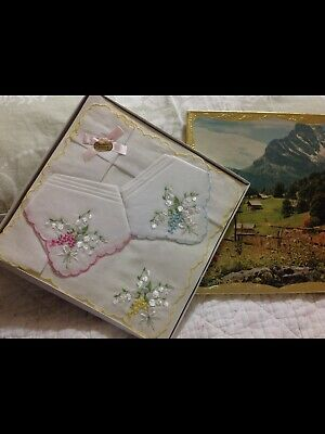 Vintage Franpear Handkerchiefs 3 Swiss Fine Embroidered Lily Of The Valley Boxed