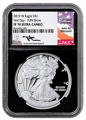 2019 W Proof American Silver Eagle NGC PF70 UC First Day Fun Show Black SKU57011