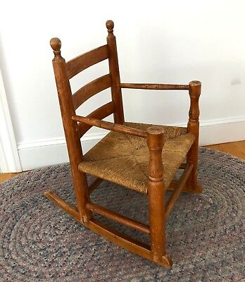 RARE ANTIQUE MAPLE Shaker Wooden Ladder back Cane Seat Youth Rocking Chair 1920